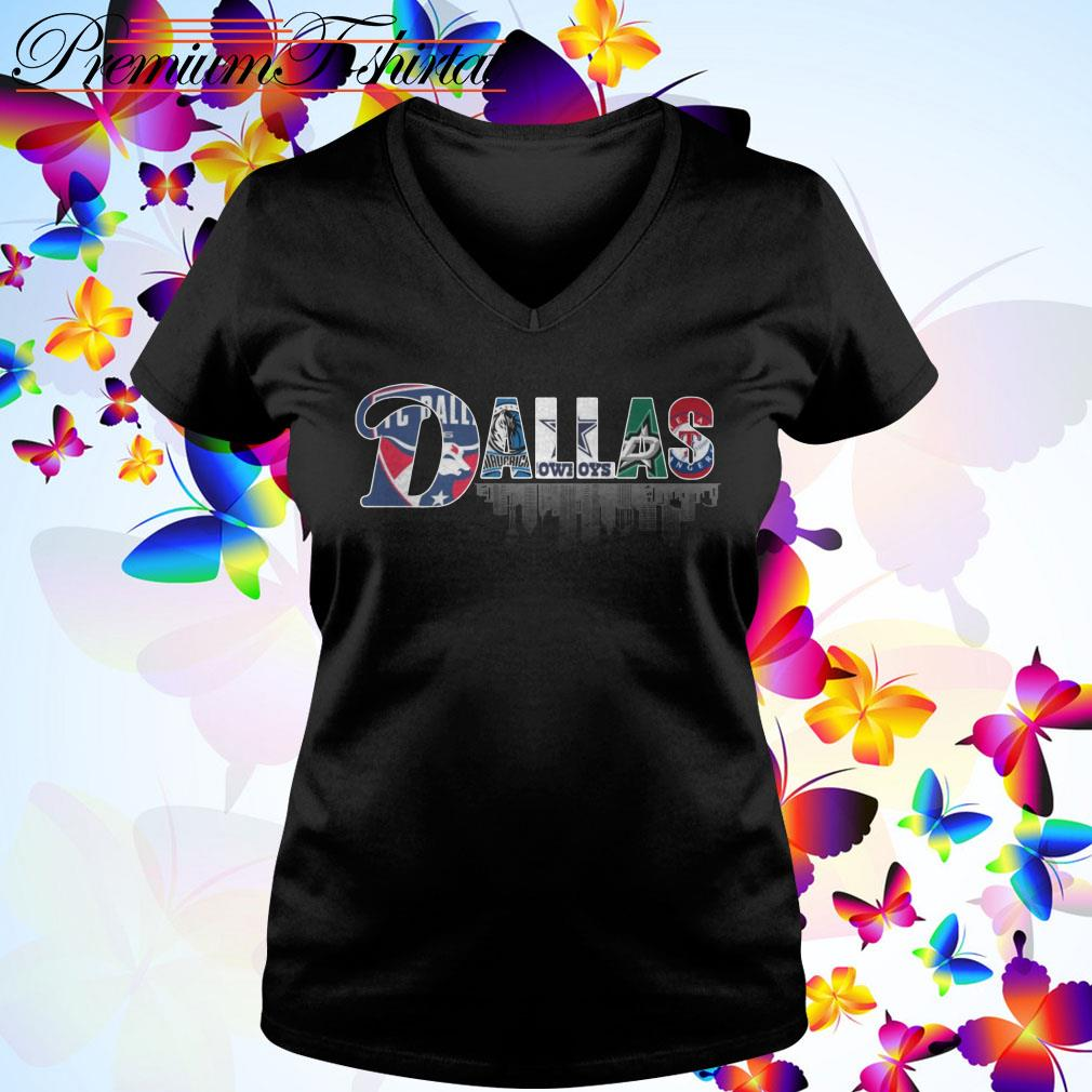 Dallas Team Sports FC Dallas Mavericks Cowboys Stars Rangers V-neck T-shirt