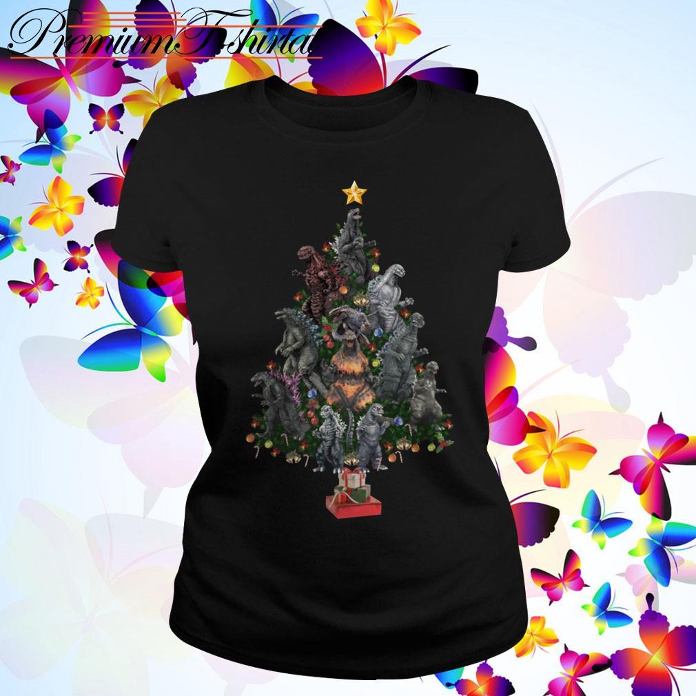 Dinosaur Christmas Tree Ladies Tee