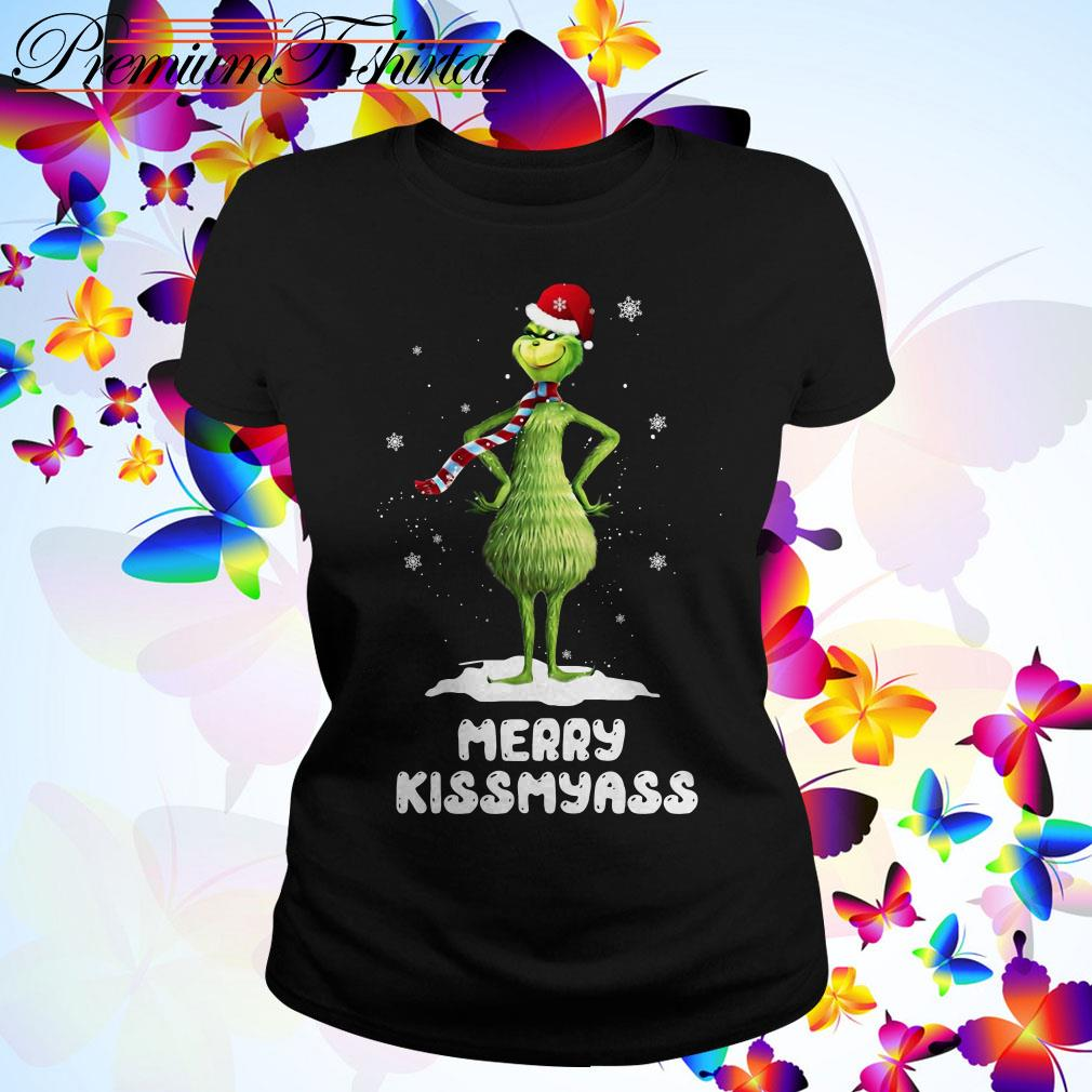 Grinch Santa Merry kiss my ass Christmas Ladies Tee