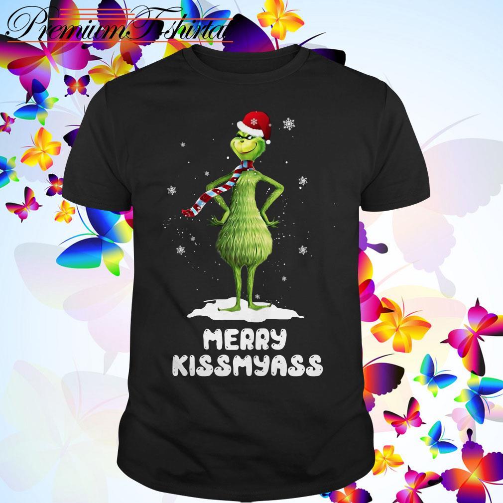 Grinch Santa Merry kiss my ass Christmas guys shirt