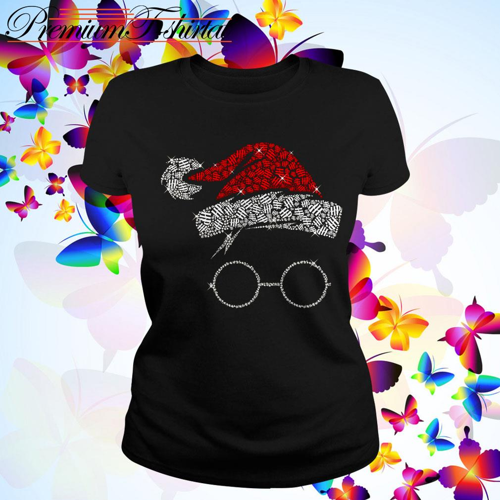 Harry Potter Santa Hat And Glass Christmas Ladies Tee