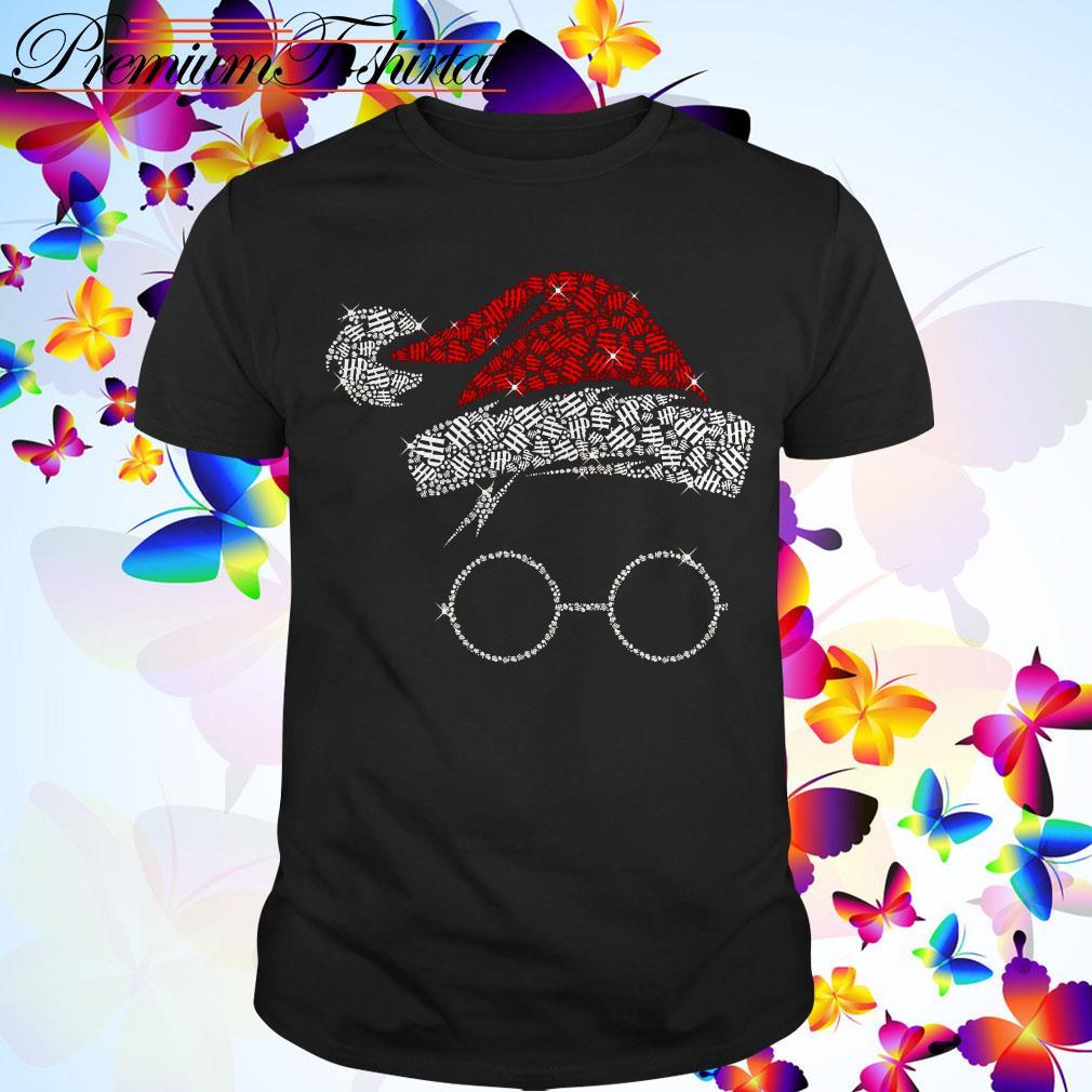 Harry Potter Santa Hat And Glass Christmas guys shirt