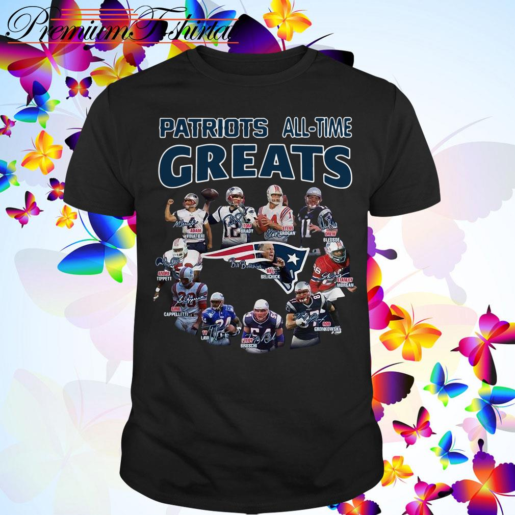 New England Patriots all time greats coach and players signatures shirt