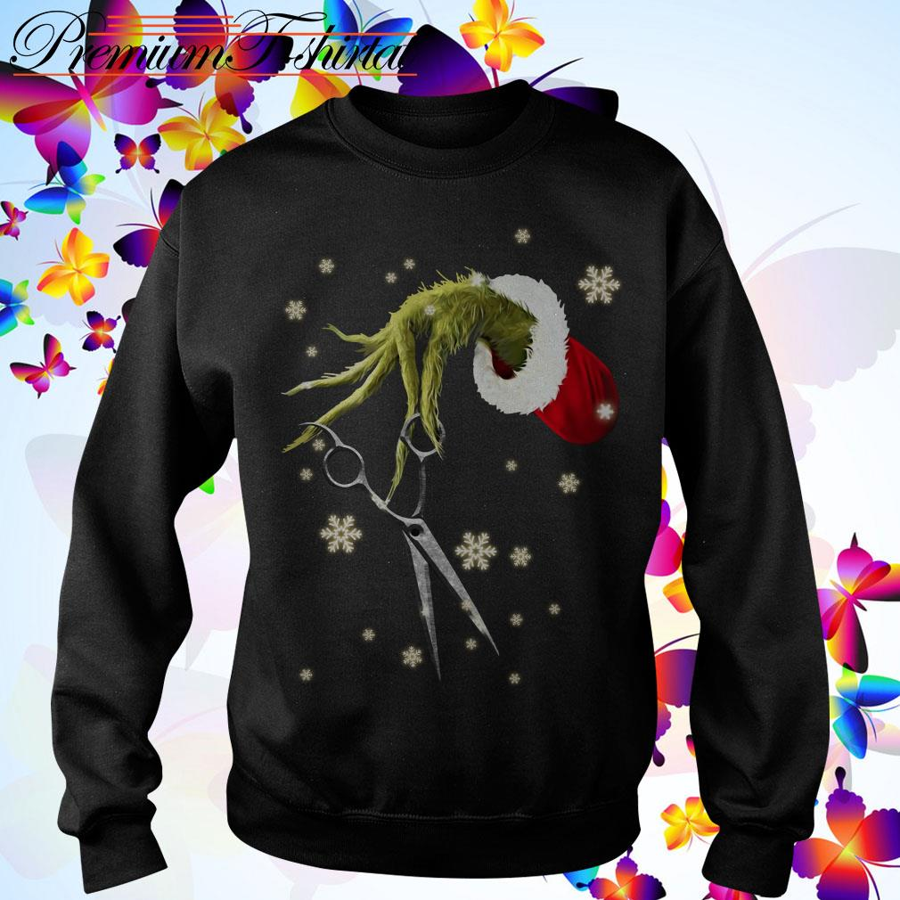 The Grinch holding a scissors Christmas shirt, sweater