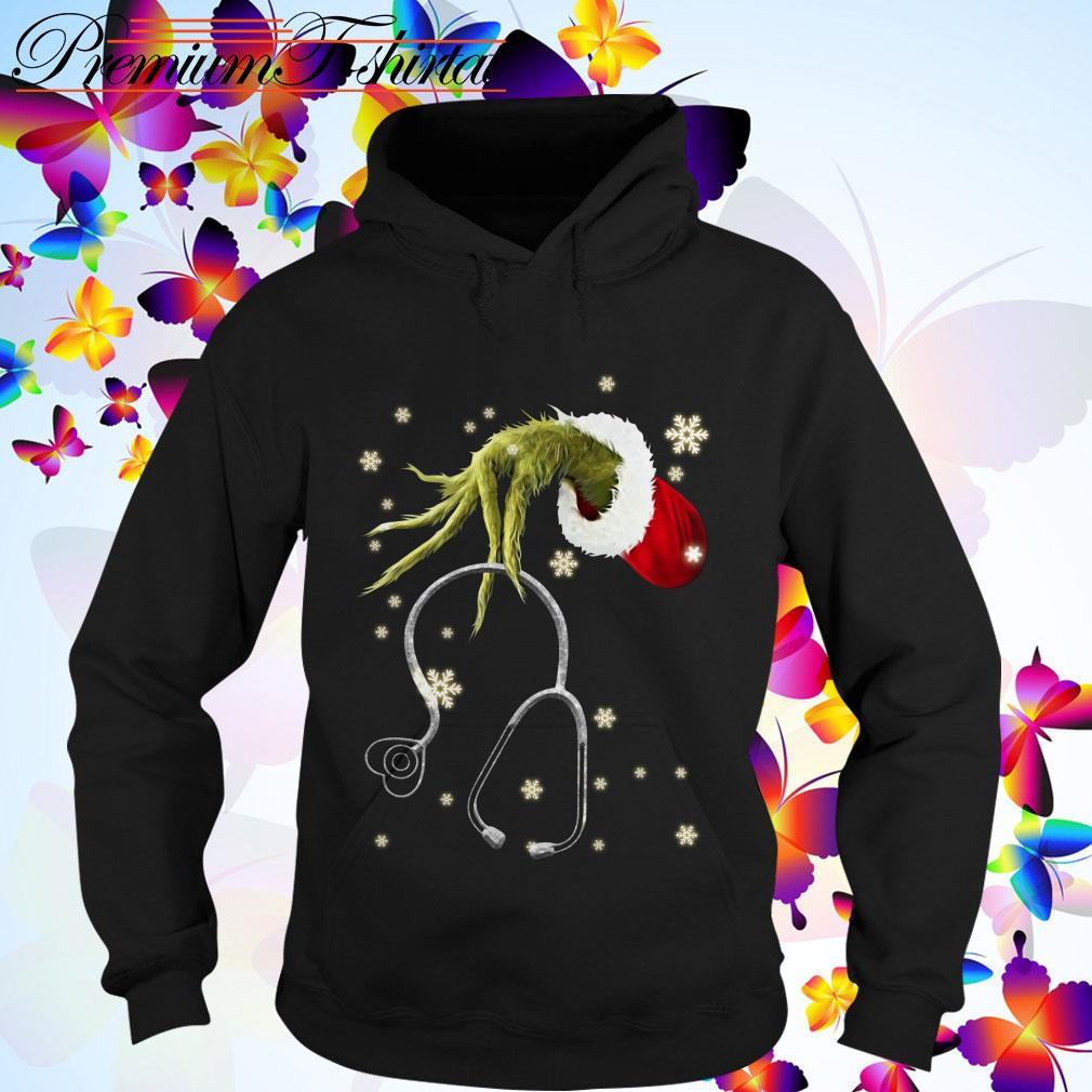 The Grinch holding a Stethoscope Christmas Hoodie