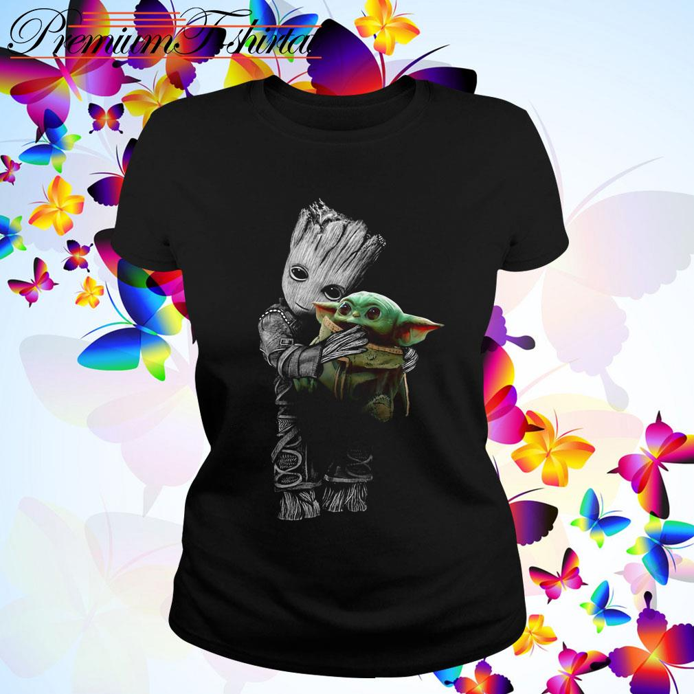 Baby Groot hug baby Yoda Ladies Tee