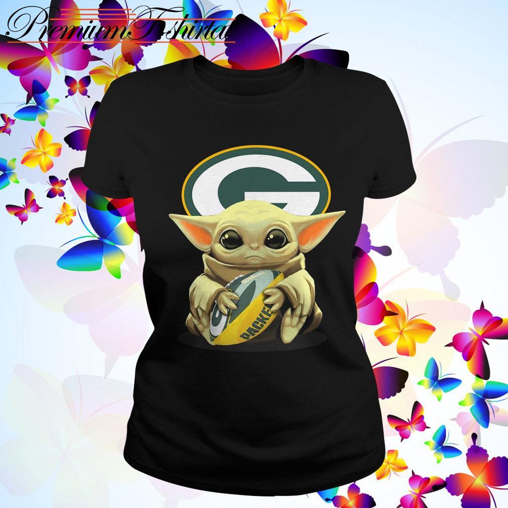 Baby Yoda Hug Ball Green Bay Packer Shirt Sweater Hoodie