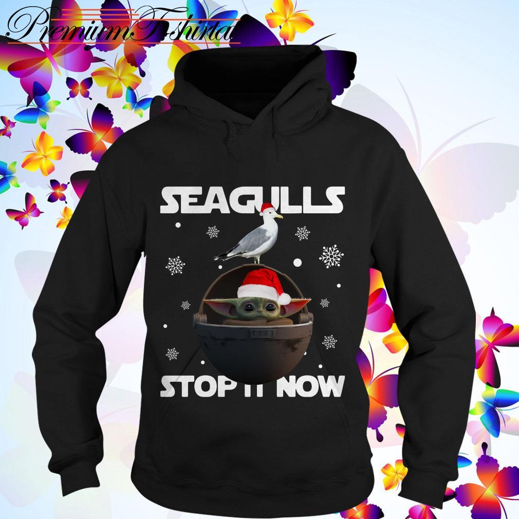 Christmas Star Wars Baby Yoda Seagulls stop it now Hoodie