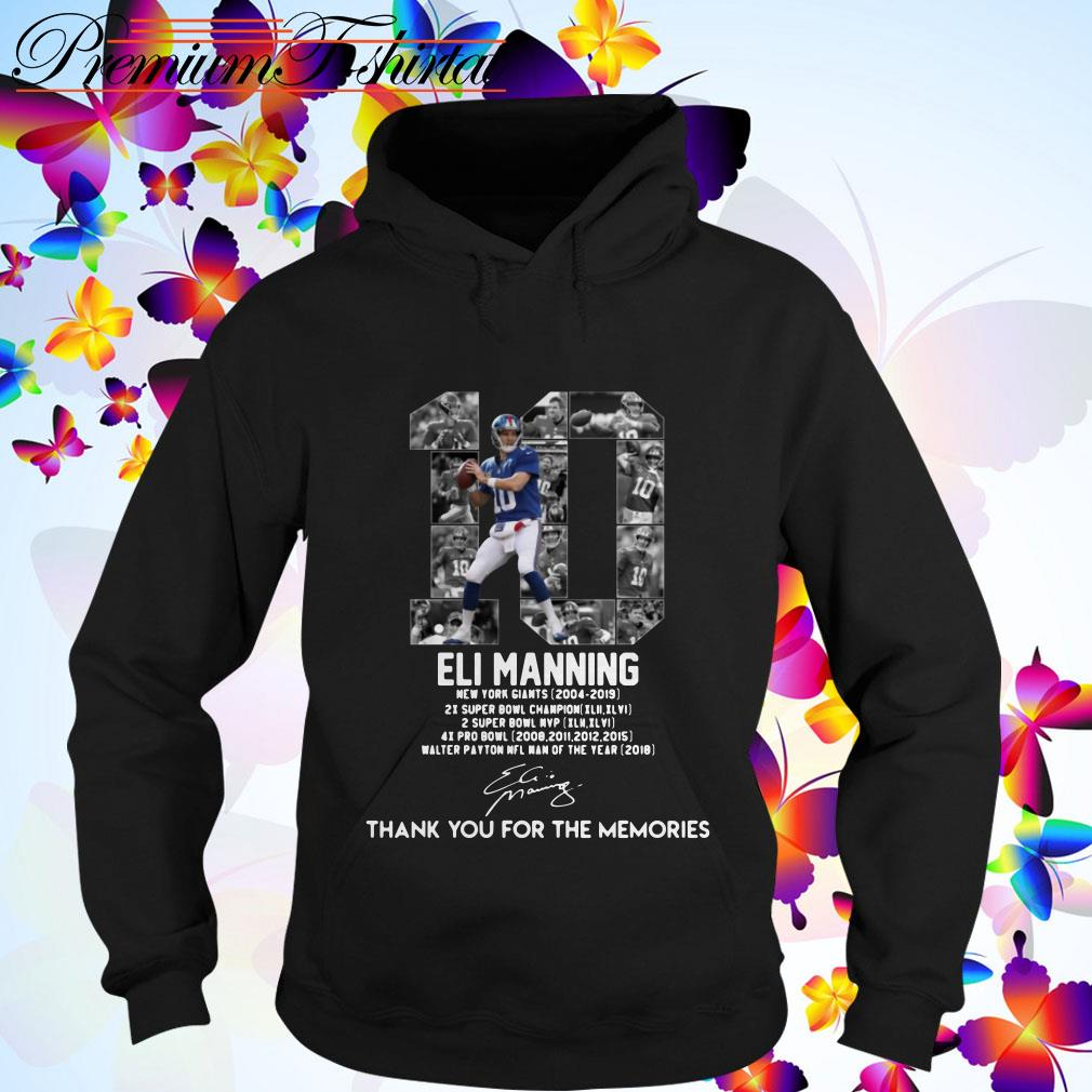 Eli Manning 10 thank You for the Memories signature Hoodie