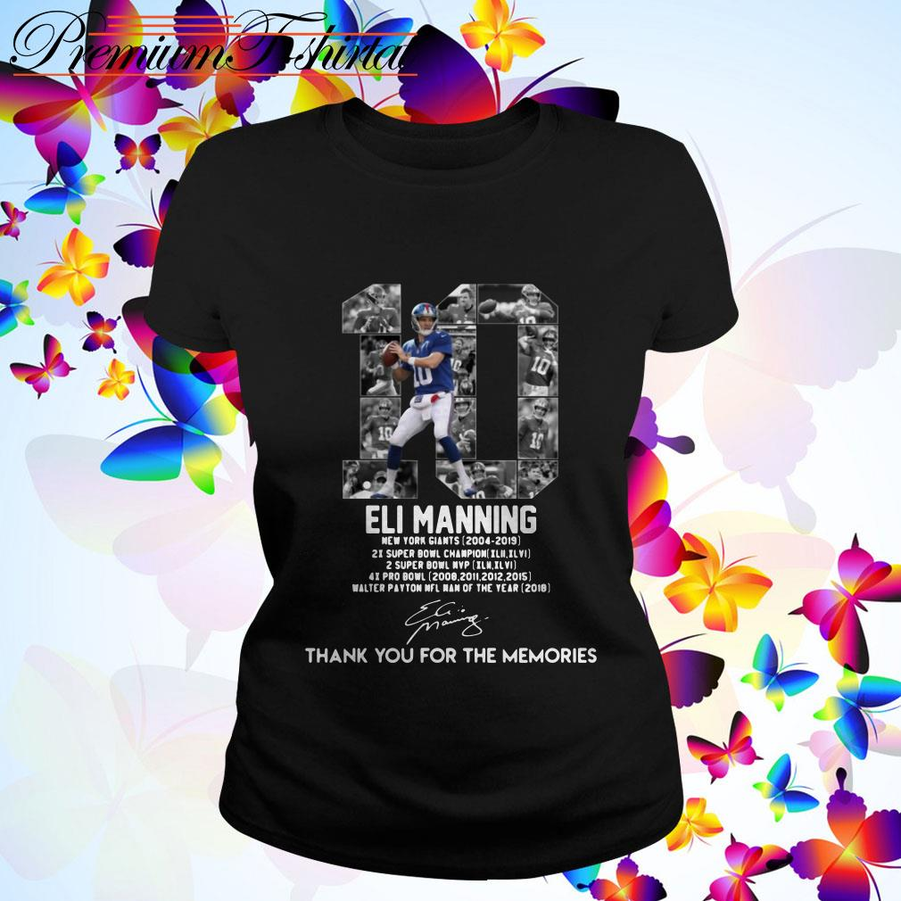 Eli Manning 10 thank You for the Memories signature Ladies Tee
