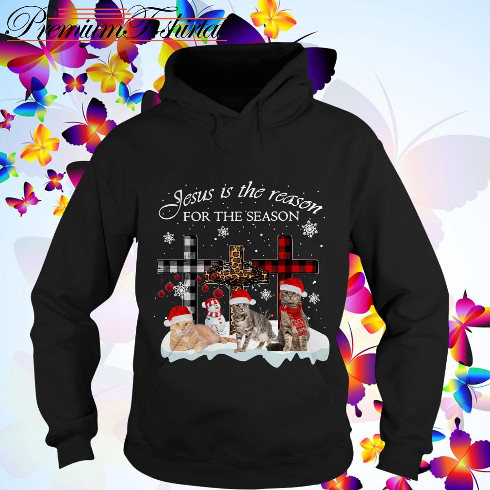Jesus is the reason for the season Snowman Cat Christmas Hoodie