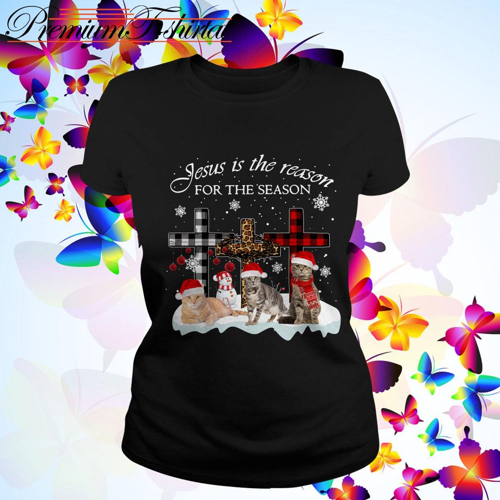 Jesus is the reason for the season Snowman Cat Christmas Ladies Tee
