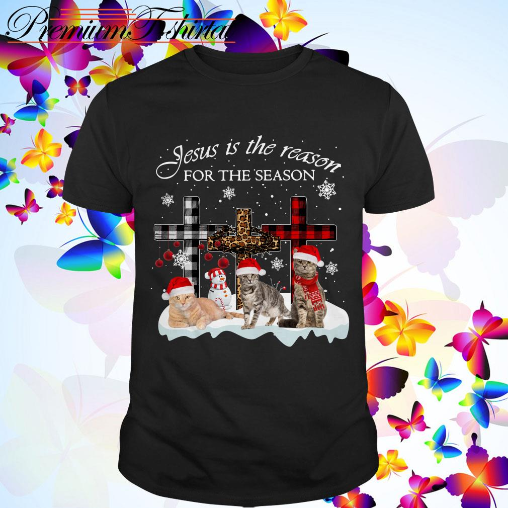 Jesus is the reason for the season Snowman Cat Christmas shirt, sweater
