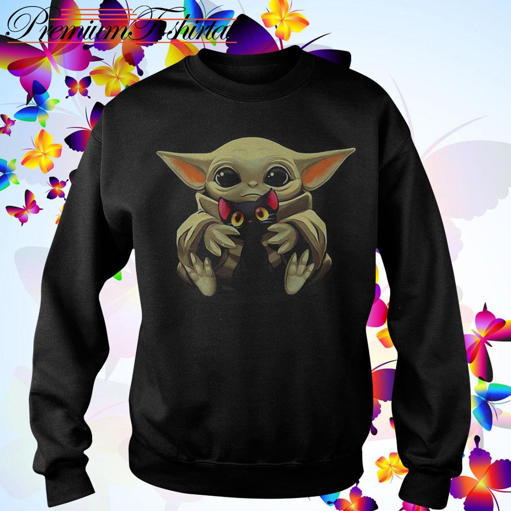 Baby Yoda hugging Cartoon black cat Sweater
