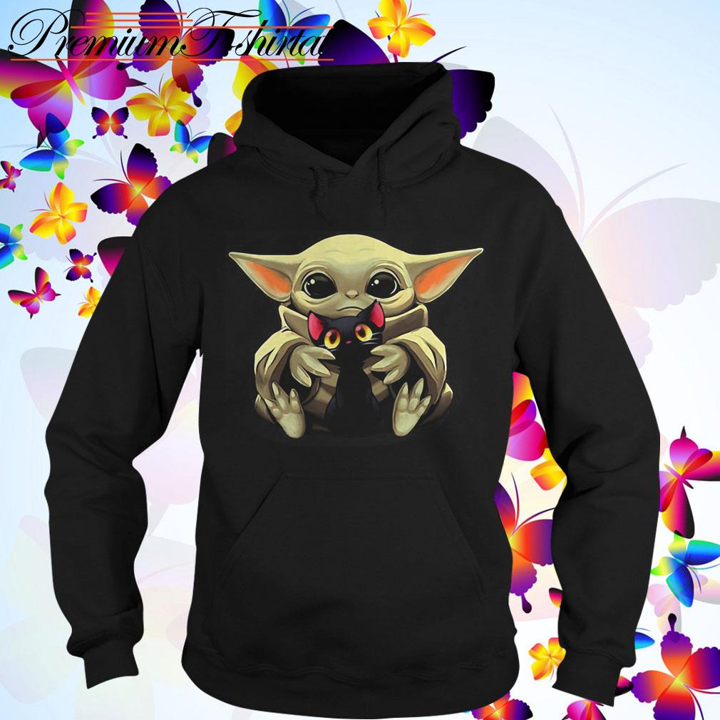 Baby Yoda hugging Cartoon black cat Hoodie
