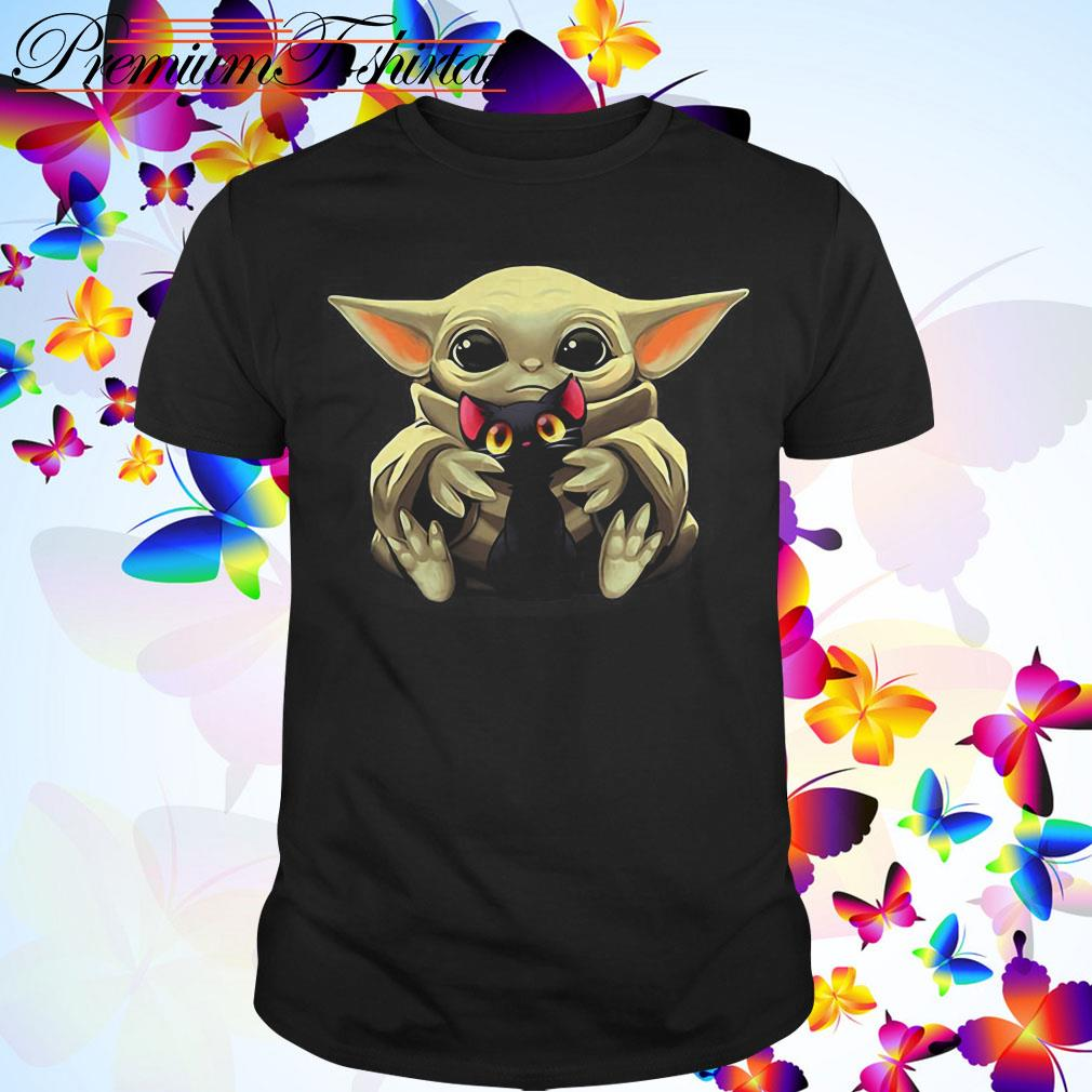 Baby Yoda hugging Cartoon black cat shirt
