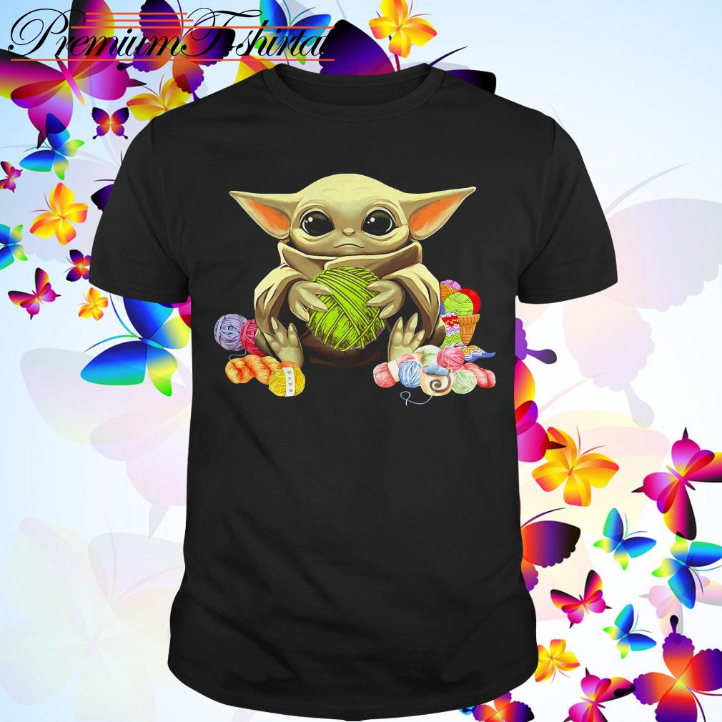 Baby Yoda hugging wool shirt