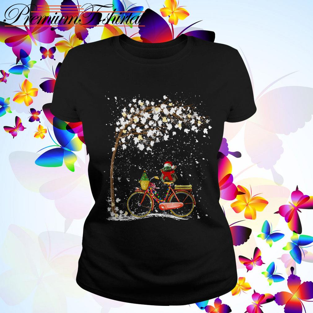 Baby Yoda riding bike Christmas Ladies Tee
