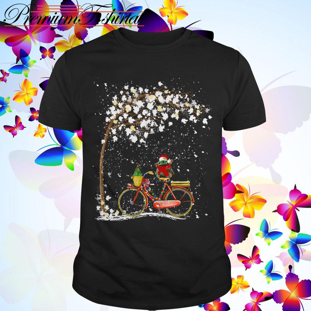 Baby Yoda riding bike Christmas shirt, sweater