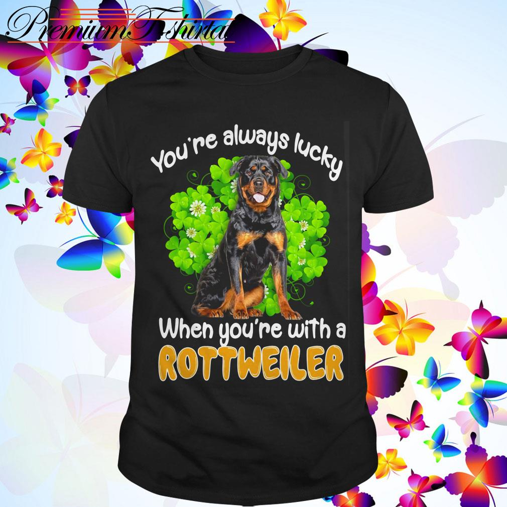 Clickbuypro Unisex T-shirt Youre Always Lucky When Youre With A Rottweiler St Patricks Day Shirt Hoodie Forest Green 3xl