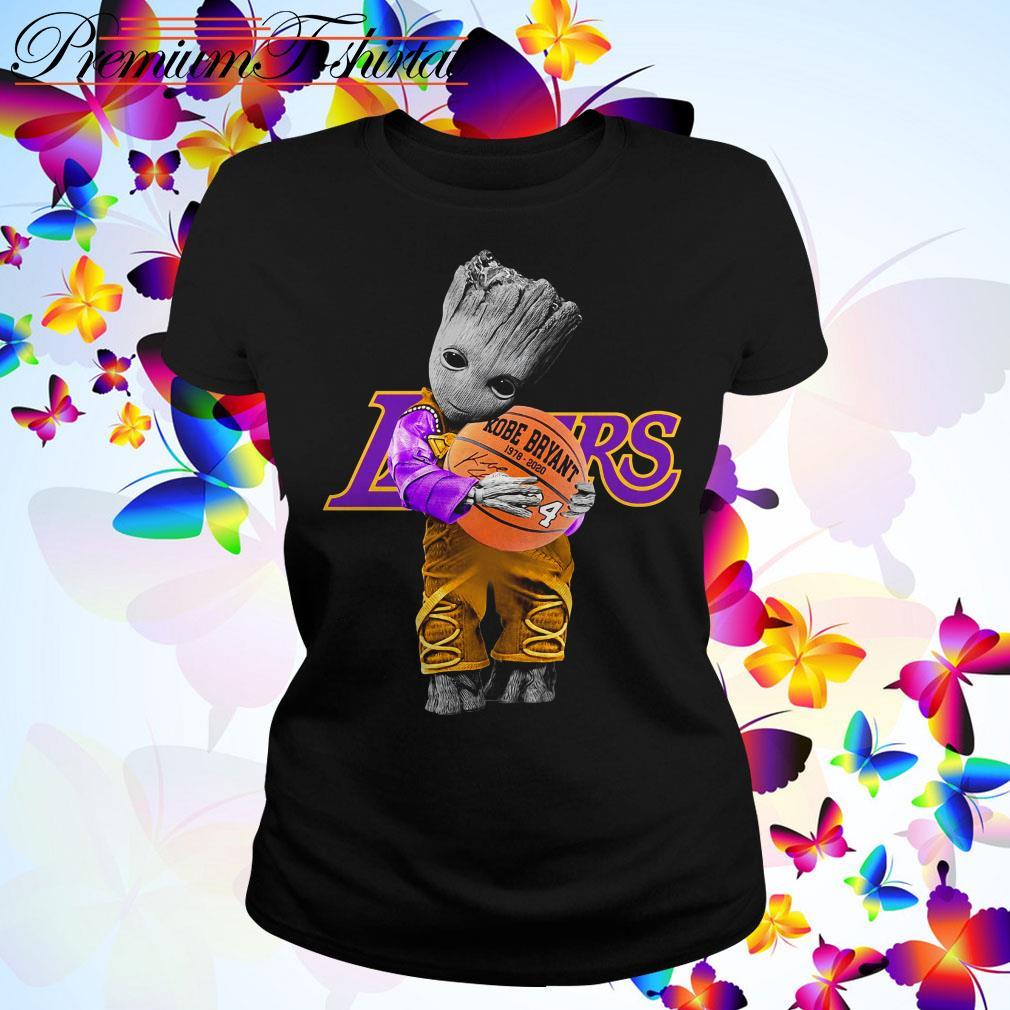 Baby Groot Lakers hug Kobe Bryant basketball signature Ladies Tee