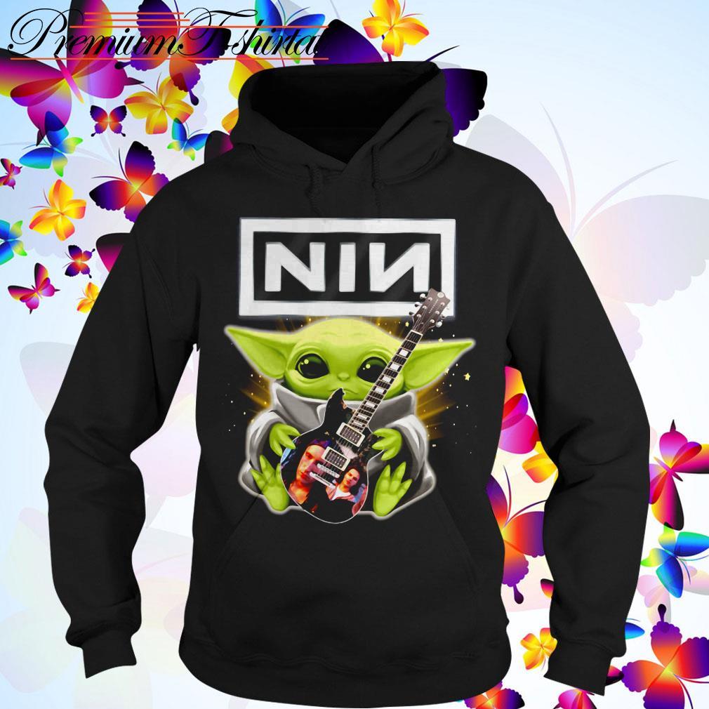 Baby Yoda hug Nine Inch Nails guitar Hoodie