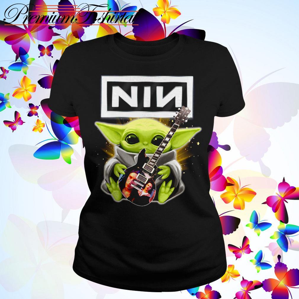 Baby Yoda hug Nine Inch Nails guitar Ladies Tee