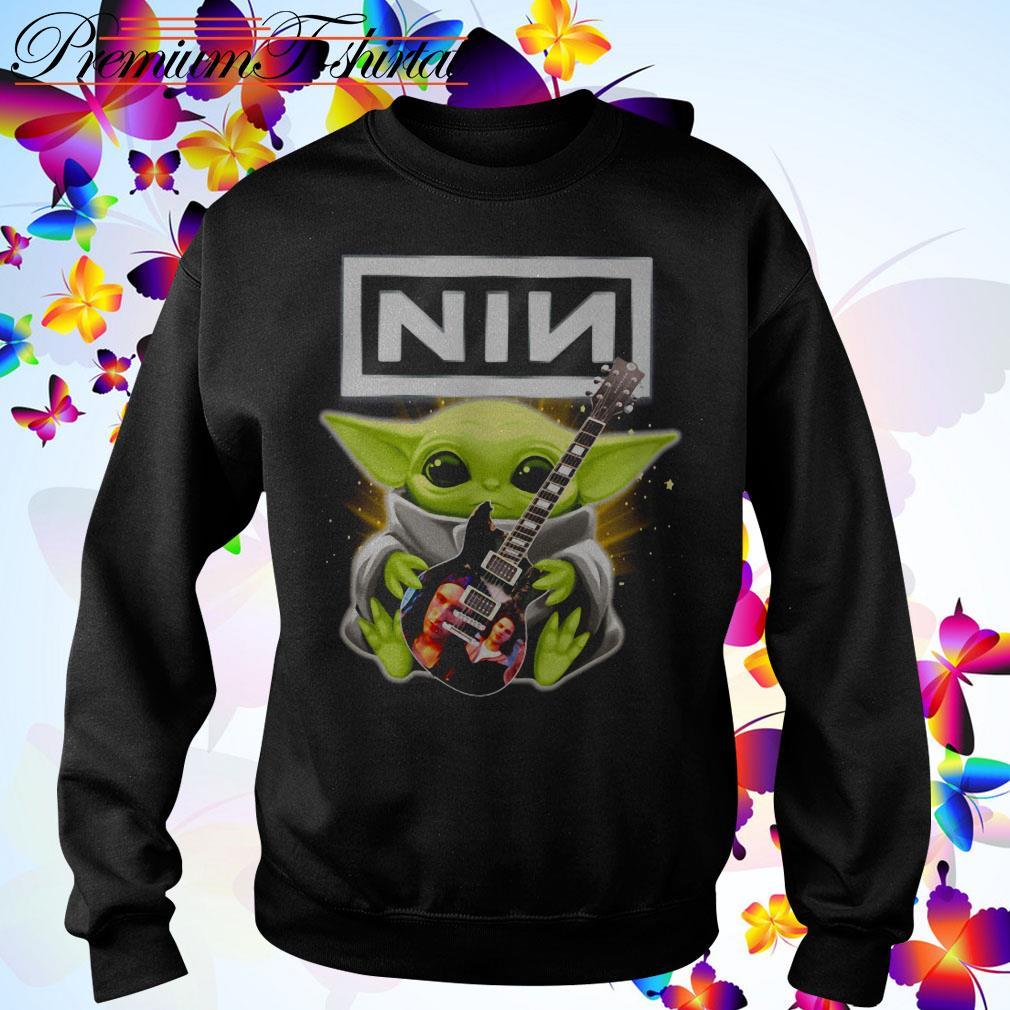 Baby Yoda hug Nine Inch Nails guitar Sweater