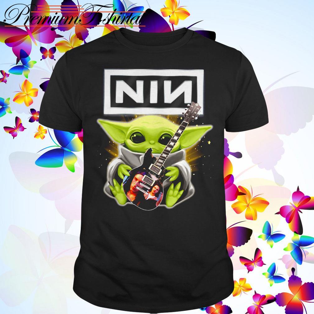 Baby Yoda hug Nine Inch Nails guitar shirt