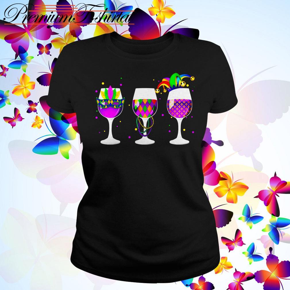 Mardi Gras glass of wine Ladies Tee