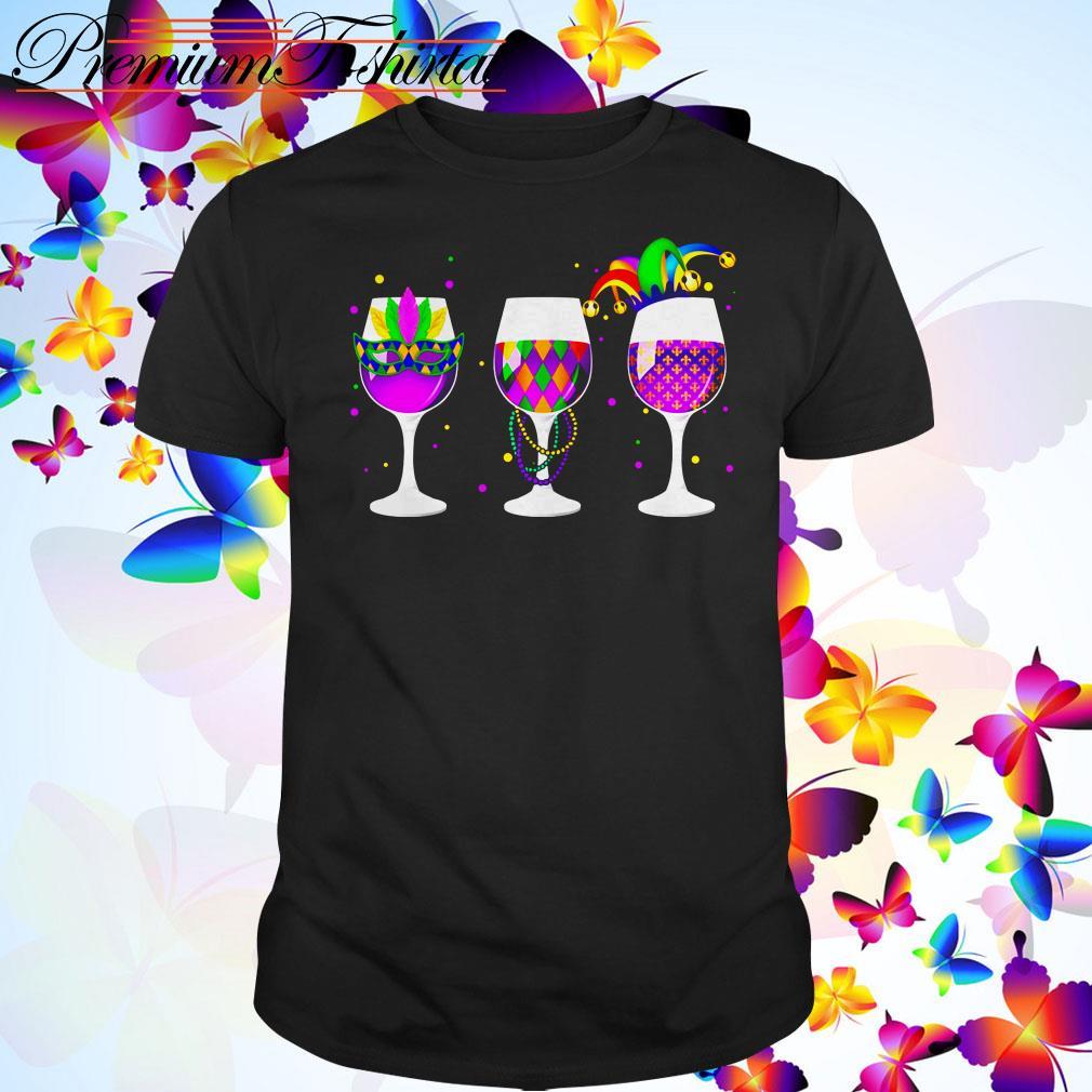Mardi Gras glass of wine shirt