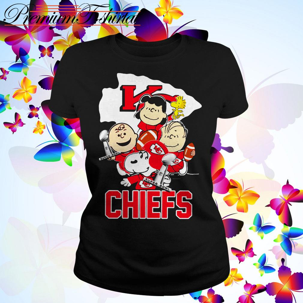 Snoopy with Friends Kansas City Chiefs Super Bowl NFL Ladies Tee