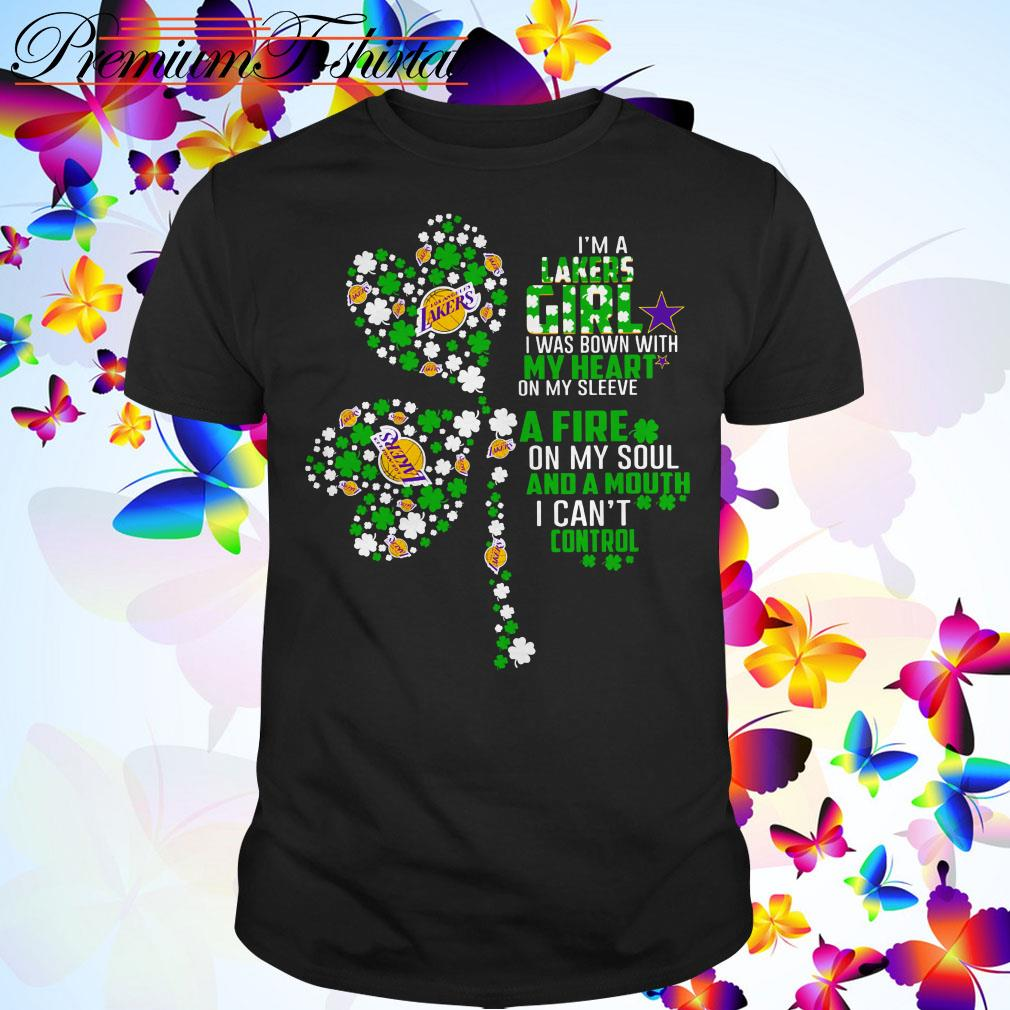 St Patrick's day I'm a Lakers girl I was bown with my heart on my sleeve shirt
