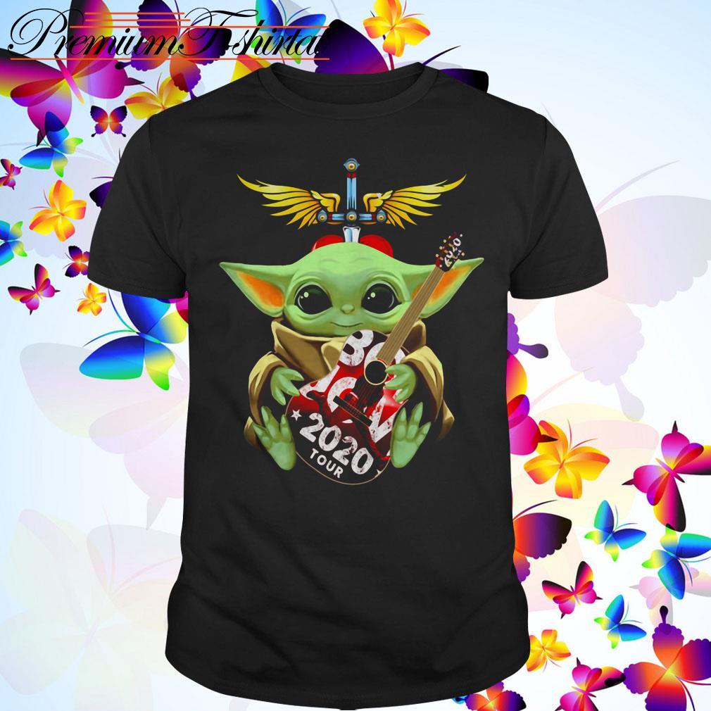 Star Wars Baby Yoda hug Bon Jovi 2020 tour shirt