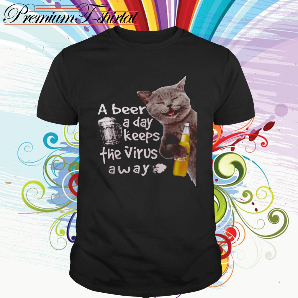 Cat drink Corona Extra a beer a day keeps the virus away shirt