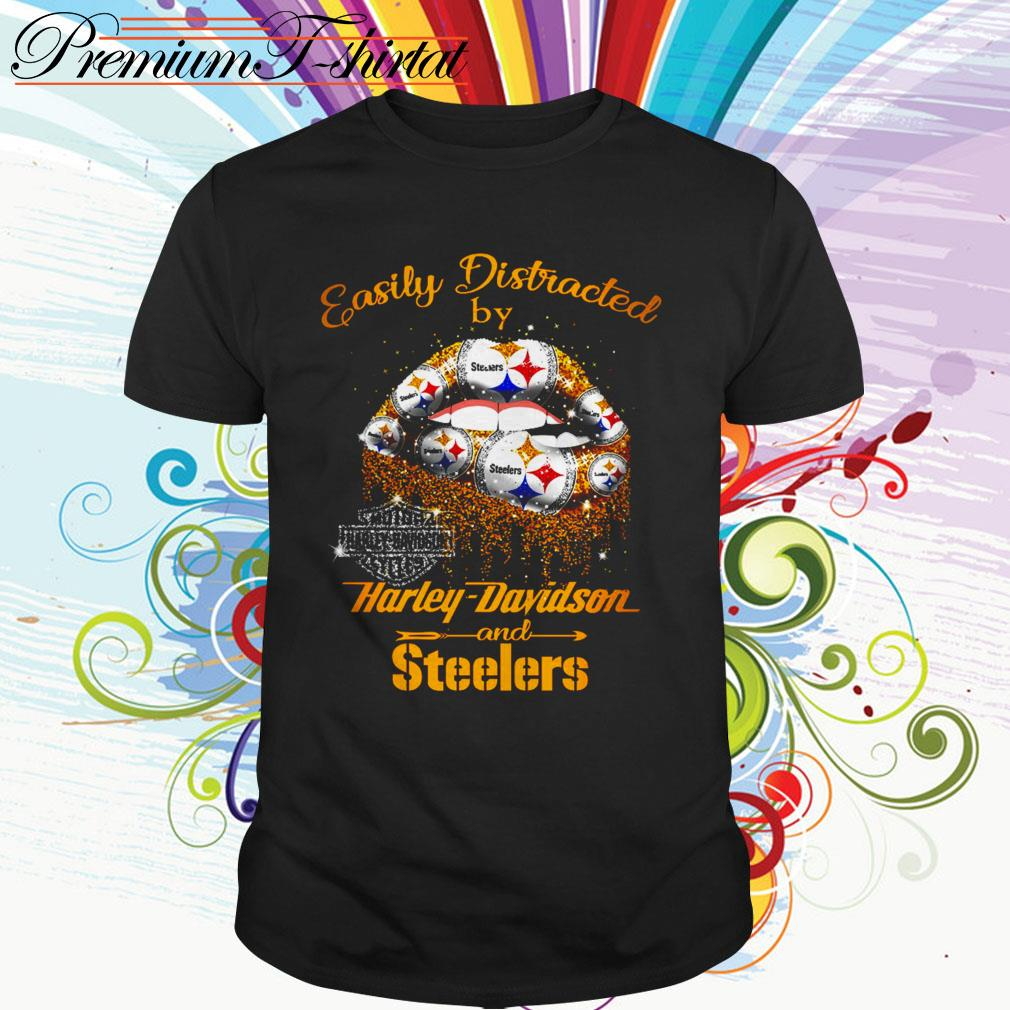 Easily distracted by Harley-Davidson and Steelers lip shirt