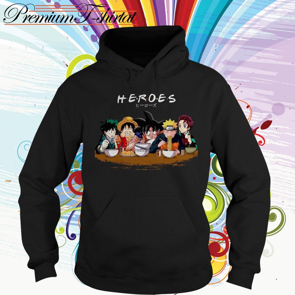 Mashup Heroes characters Anime eat together Hoodie