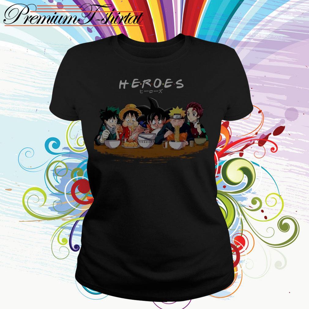 Mashup Heroes characters Anime eat together Ladies Tee