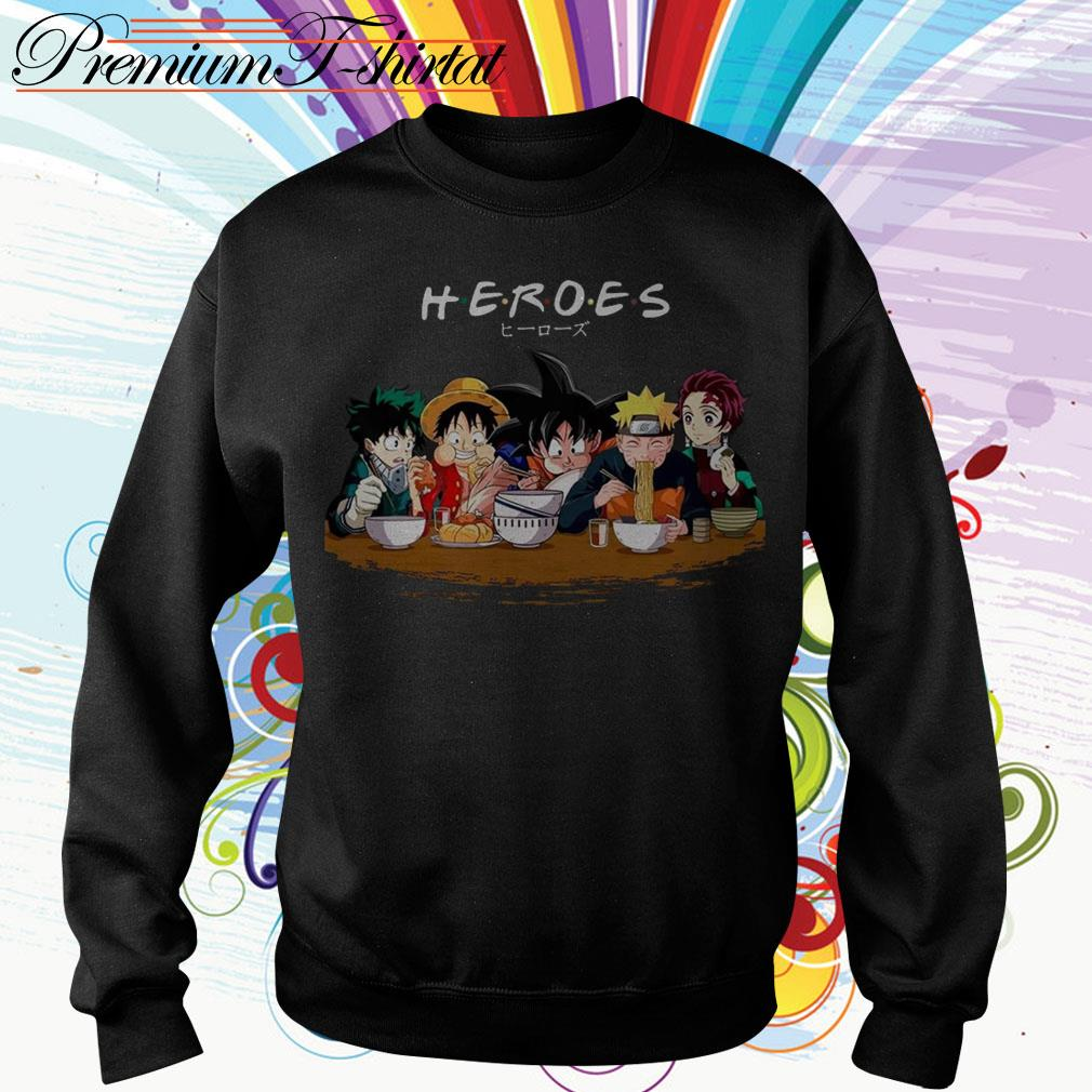 Mashup Heroes characters Anime eat together Sweater