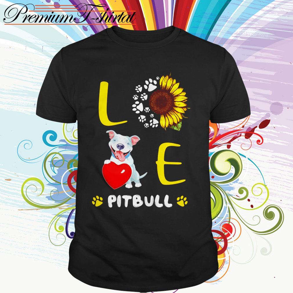 Paw dog sunflower love pitbull shirt