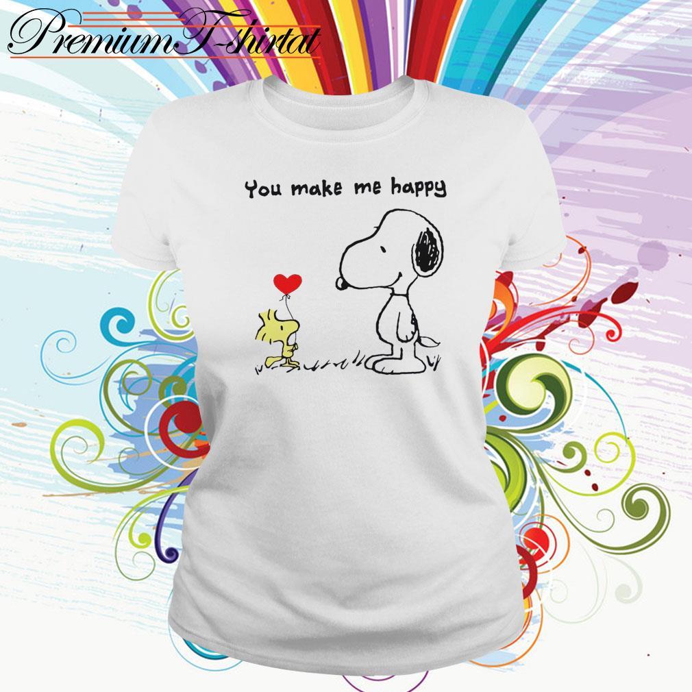 Snoopy and Woodstock you make me happy Ladies Tee