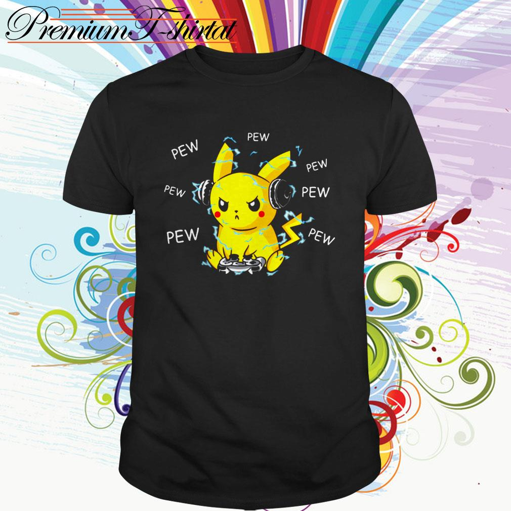 Pokemon Pikachu playing game pew pew pew shirt
