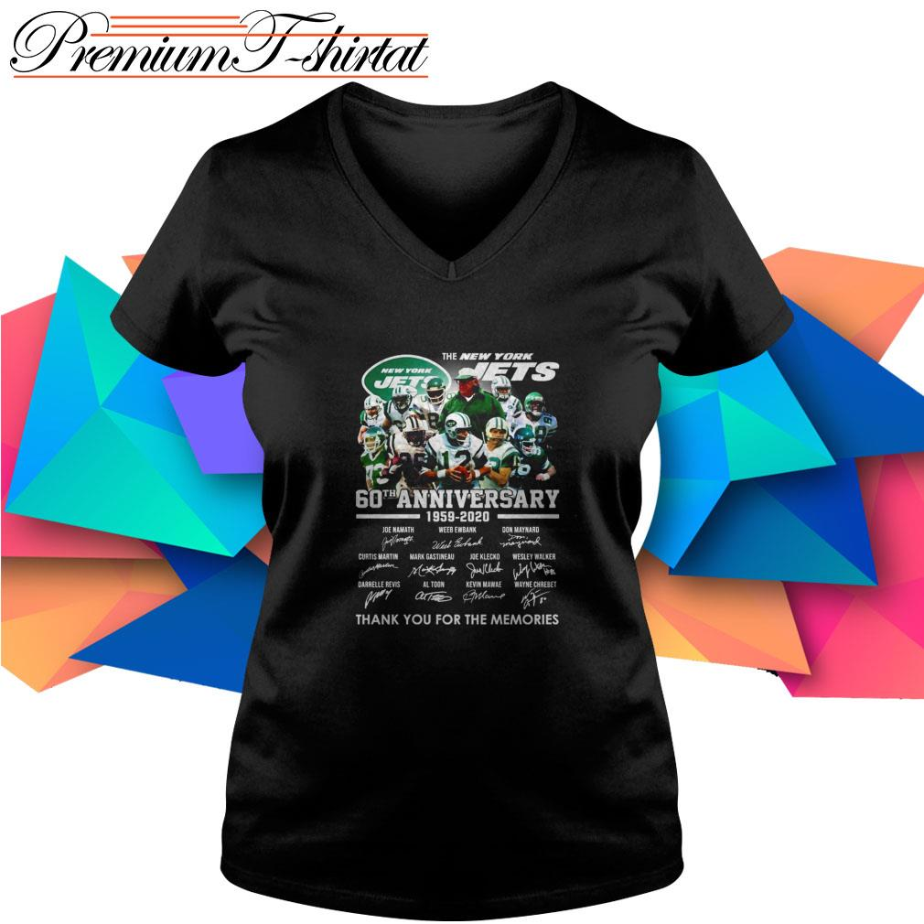 The New York Jets 60th Anniversary 1959-2020 thank you for the memories V-neck T-shirt