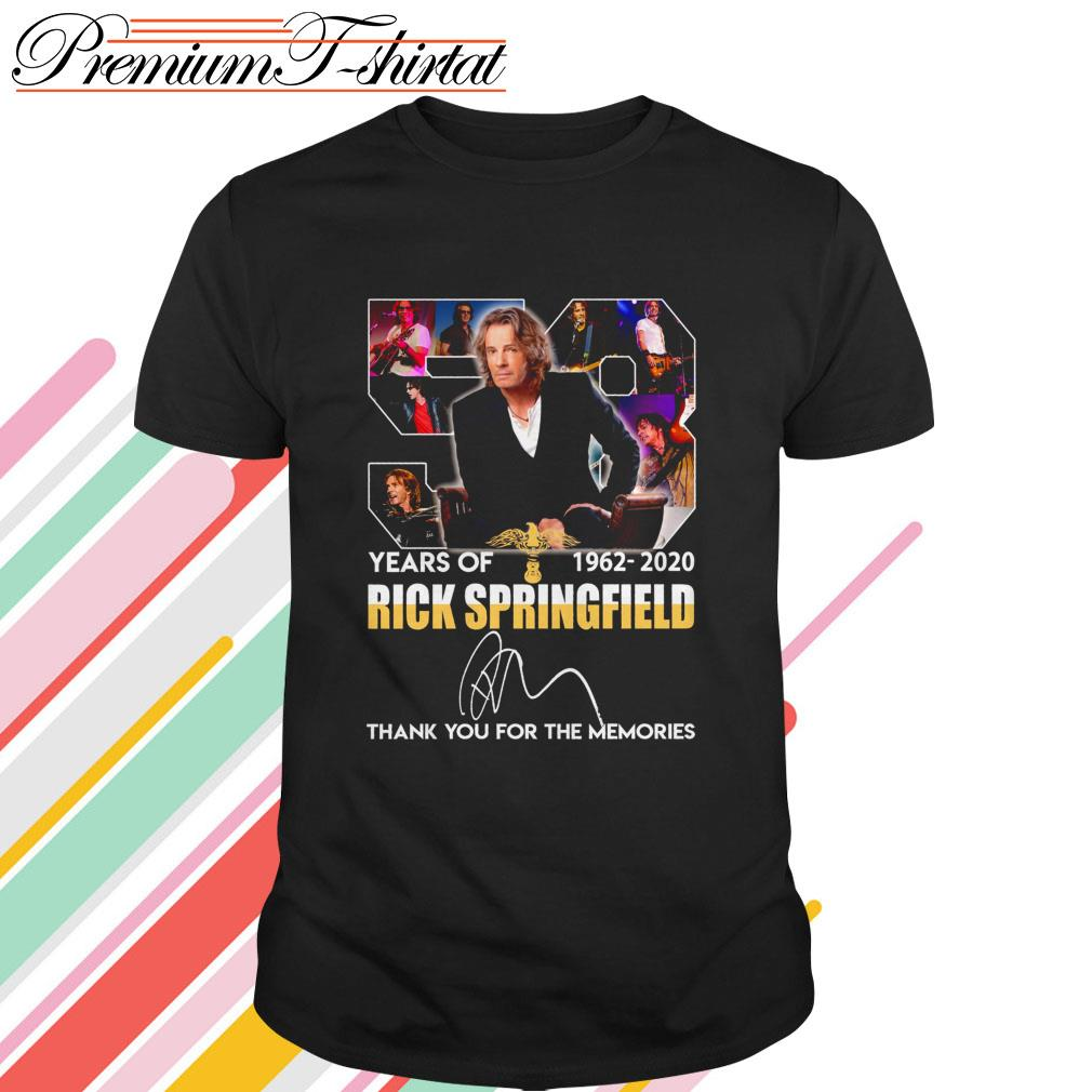 58 Years of Rick Springfield 1962-2020 thank you for the memories signature shirt