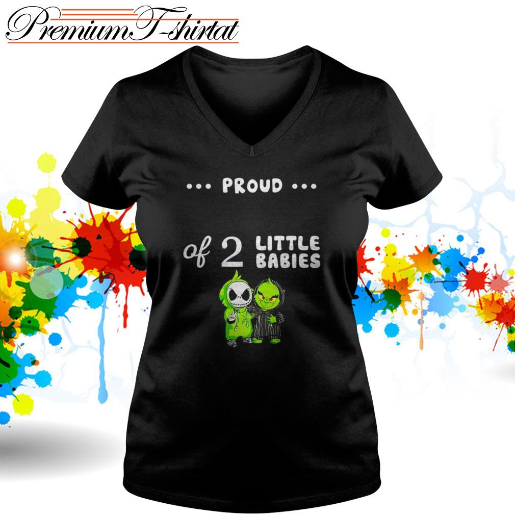 Baby Grinch and Baby Skellington proud of 2 little babies V-neck T-shirt