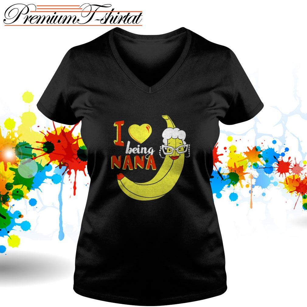 Banana I love being Nana V-neck T-shirt