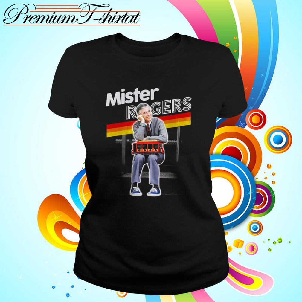 Mister Rogers Smiling Leaning on Trolley Ladies Tee
