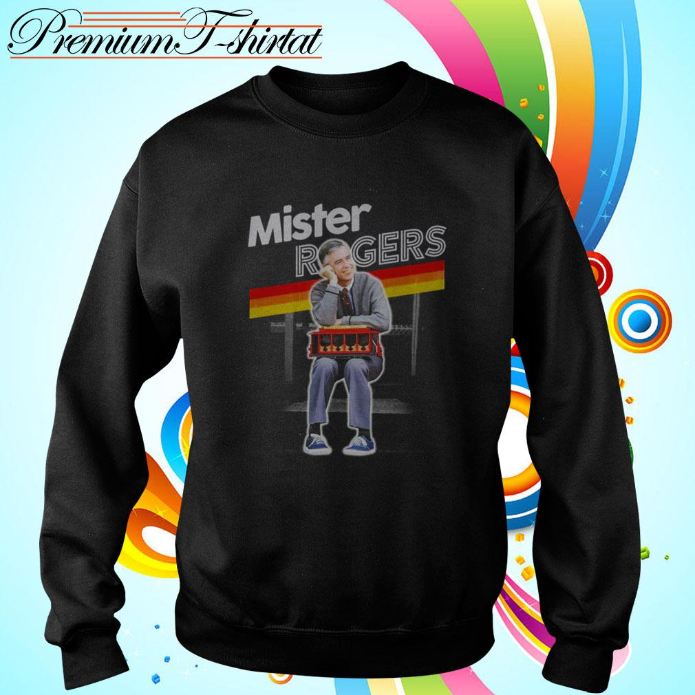 Mister Rogers Smiling Leaning on Trolley Sweater
