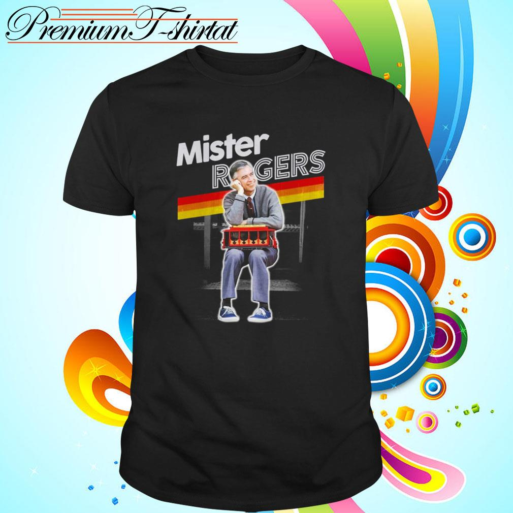 Mister Rogers Smiling Leaning on Trolley shirt