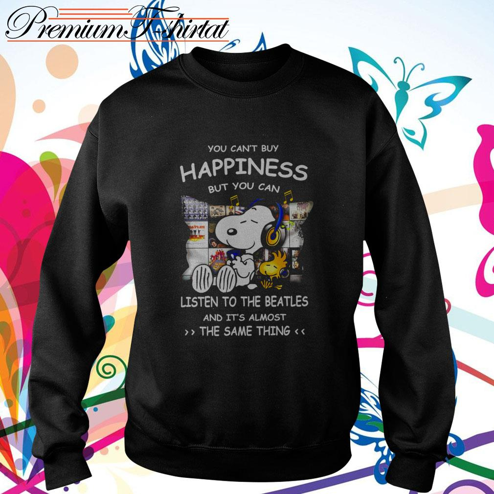 Snoopy you can't buy happiness but you can listen to The Beatles Sweater